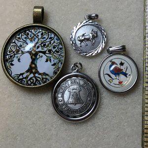 Lot of 4 Circular Costume Jewelry Pendants